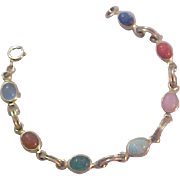 SALE Gold Fill Charming 7 scarabs~ Bezel Set Bracelet