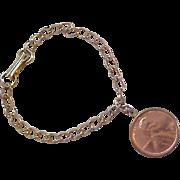 SALE 1972 Copper One Cent Gold Plate Charm Bracelet