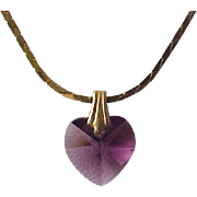 SALE VALENTINE~ Sworovski Crystal faceted AMETHYST HEART~ Pendant & Gold Plate Chain
