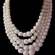 SALE Captivating 4 Strand Graduated White Beads Necklace~Germany