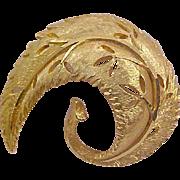 SALE Dimensional Designer B.S.K. Curved-Cut Work Textured Gold Plate Brooch