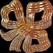 SALE Dimensional MONET Ribbon Filigree BOW~Ornate Design Brooch
