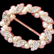 SALE Lavish Seed Pearls & Diamante Oval Gold Plate Brooch