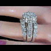 SALE BRIDAL~ 4.20 CARAT ~ Plethora of Diamonds ~ 14K White Gold ~ Three Stackable RINGS Ladies