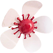 SALE Summer Daisy!All Metal ~ Red & White ~ 1952 ~ Pin/Brooch