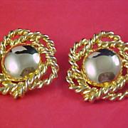 SALE Fabulous  - Open Design GOLD PLATE Clip Earrings - Ca 1950's