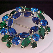 SALE DeLizza & Elster Juliana Blue Sapphire & Emerald Green Rhinestone Brooch