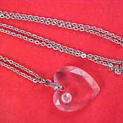 SALE Lucite Carved HEART & Diamante Pendant and Silver Tone Chain Necklace