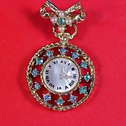 SALE Aquamarine~Faux Pearl Dangle Watch Brooch