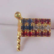 SALE Celebrate America~USA Red-White~Blue Rhinestone Lapel Pin or Tie Tac