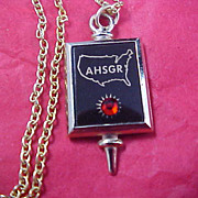 SALE German Ruby Pendant and Gold Plate Chain