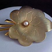 SALE Charming Brass & Gold Plate Leaf with Simulated Pearl Brooch