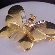 SALE WHIMSICAL BUTTERFLY -  Gold Plate - Baguette Diamante & Ruby Rhinestone Brooch