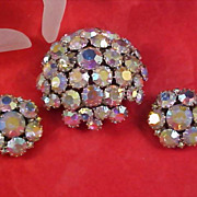 SALE Showstopper - JOSEPH WARNER -  Headlight Rainbow Aurora Borealis Domed Brooch & Clip Earr