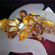 SALE Free Ship~Mid Century  Carved & Molded  Amber Glass & Topaz & Amber Rhinestone Brooch