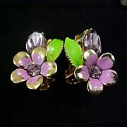 SALE Sweet VIOLETS ~ Metal & Enamel flowers & Marquis Cut Lavender Rhinestone Earrings