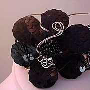 SALE Lavish Black Sequin & Beads ~Silver & Black metal Cuff Bracelet