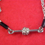 SALE FREE SHIPPING - Jet Barrel Bead & Silver Plate Sautoir Necklace