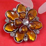 SALE STUNNING - Topaz and Diamante Rhinestone Stacked-Layered Brooch/Pin
