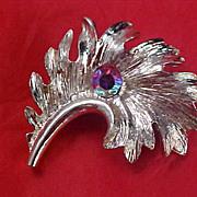 SALE Amazing AURORA BOREALIS Silver Plate Brooch