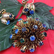 SALE Reduced~Magnificent Blue & Green Rhinestones Set in Florals Brooch & Matching Earrings