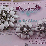 SALE Free Ship~Milk Glass Smoky Rhinestone Demi Parure - Brooch & Earrings