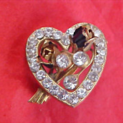 SALE CHARMING - Pave Diamante Heart Gold Plate & Diamante Inserts Brooch