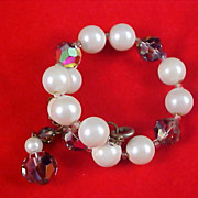 SALE Fabulous Simulated Pearls & WATERMELON CRYSTALS Wrap Bracelet w/Safety Chain