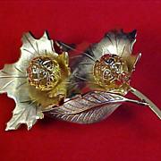SALE Double  OAK LEAVES  - Gold Plate & Gilt Gold  Filigree  Brooch