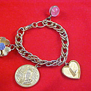 SALE Mid Century LUCKY CHARM BRACELET - Crafted in Gold Plate - Fabulous Charms