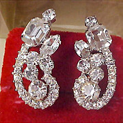 SALE D&E JULIANA  Sparkling  Diamante  Silver Rhodium Plate Clip Earrings