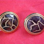 SALE LEOPARD Look Glass & Gold Plate Earrings
