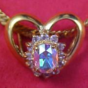 SALE 14KT Gold F LIND  ~  CRYSTAL Heart Slide ~  Herringbone Chain Necklace