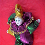SALE 1967 NEW ORLEANS MARDI GRAS Colored Satin Costume - Bells Porcelain Doll Fridge Magnet