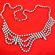 SALE RUNWAY - Festoon Bib Drape DIAMANTE Necklace ~ Circa 1940's