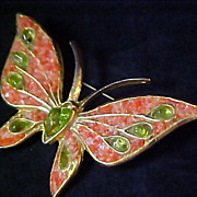 SALE Whimsical Butterfly  PERIDOT Art Glass ~ Genuine  CORAL Chips Brooch/Pin