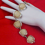 SALE Free Ship ~ OLD CELLULOID Ivory Colored Link Silver Tone Bracelet