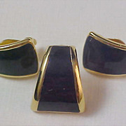 Cobalt Blue Impressive Demi Clip Earrings & Brooch