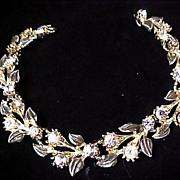 SALE Diamante & Gray Enamel ~ Silver Plate LINK Bracelet.