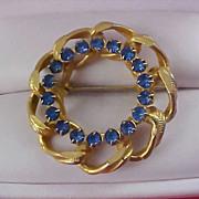 SALE BLING ~ Blue Sapphire Rhinestone & Gold Plate Wreath Brooch
