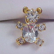 SALE Impressive Genuine  Cubic Zirconia  14K  Gold Plate TEDDY BEAR Lapel Pin