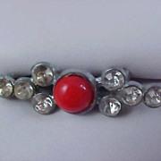 SALE ART DECO - Carnelian Glass Cabochon & Diamante Bar Pin