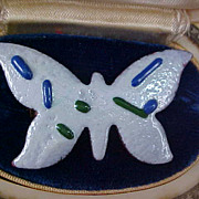 SALE ABSTRACT ~ White & Cobalt Thick Enamel over Copper BUTTERFLY Brooch/Pin