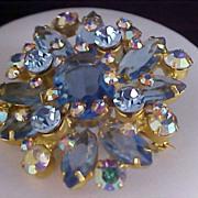 DeLIZZA & ELSTER - JULIANA Blue Sapphire Rhinestones & Aurora Borealis Brooch/Pin