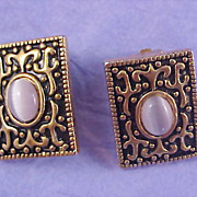 SALE Victorian Style Lavender Oval Moonstones - Antiqued Gold Plate Clip Earrings