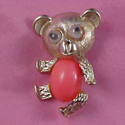 """SALE """"Googly-Eyed"""" Coral Cabochon & Gold  Plate Teddy Bear Brooch"""