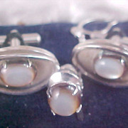 SALE MOONSTONE Cuff Links & Tie Clasp - 1950's Set - Silver Plate