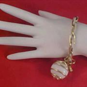 SALE Caged WHITE GLASS BALL Dangle Gilt Gold & White Metal Link Bracelet