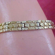 SALE Gold Plate  NUGGET Links ~  Intricate Clasp Bracelet - 43.5 grams