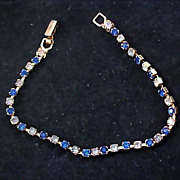 SALE Diamante ~ Blue Sapphire Colored Rhinestones ~ TENNIS BRACELET